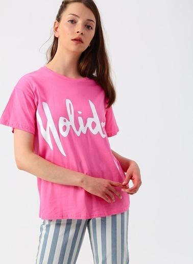 Quzu Quzu Holiday Yazılı Pembe T-Shirt Pembe